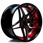 20 Ac Wheels Ac01 Gloss Black Red Inner Extreme Concave Rims B123