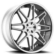 4 24 Staggered Azad Wheels Az77 Brushed Face With Chrome Ss Lip Rimsb41