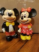 Wdp Mickey And Minnie Piggy Banks Hard Plastic Pvc Movable Arms Vintage