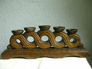 German Ww2 Era Hand Carved Candle Holder - Ahnenerbe/sippenecke Ouroboros-theme