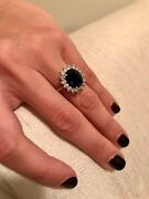 3.48 Ct Thanksgiving Real Diamond Blue Sapphire Ring 14k White Gold Size 5 6 7 8