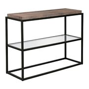 Hennandhart 42 Black And Bronze Metal Console Table With Gray Oak Wood Shelf