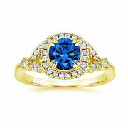 1.60 Carat Real Diamond Natural Blue Sapphire Rings 14k Yellow Gold Size 5 6 7 8