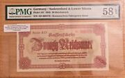Germany Rare 20 Reichmark Banknote 1945 During 2nd Ww- Pmg Certified .