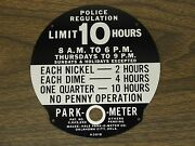 Pom Parking Meter Park-o-meter 10 Hour Plate Not A Decal New Old Stock Nos