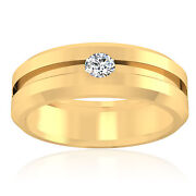 0.21 Ct Real Diamond Engagement Mens Band Solid 14k Gold Ring Size 9 10 11 12