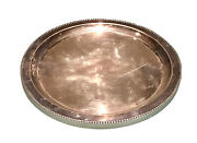 Vintage Antique Hallmarked Round Silver Plated Embossed Plate Dish Tray Old