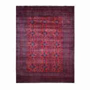 9'8x12'8 Saturated Red Afghan Andkhoy Tribal Design Hand Knotted Rug G55345