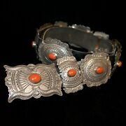 Old Pawn/estate Stamped Sterling Silver And Red Coralnavajo Concho Belt