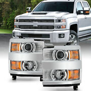 For 15-19 Chevy Silverado 2500 3500 Hd Chrome Replacement Projector Headlight