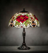 Style Stained Glass Table Lamp Bronze Finished Base With Rose Lamp Shade