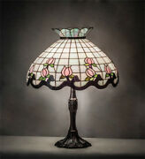 Style Stained Glass Table Lamp With Rosebud Lamp Shade On Bronze Base