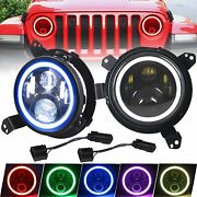 7and039and039 Rgb Halo Led Headlights + 9and039and039 Mount Brackets For Jeep Wrangler Jl 18 19 20