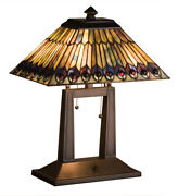 Styled Peacock Oblong Desk Lamp W Stained Glass Lamp Shade