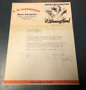 Abe Saperstein Autographed Letter 1944 Harlem Globetrotters With Vintage Photo
