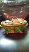 Vintage Majolica Game Pie Estate Covered Dish Andndash Hares And Mallards Andndash Minton Style