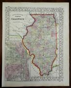 Illinois State Map Chicago City Plan Inset Springfield 1865 Mitchell Map