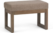 Small 26in. Ottoman Bench Linen Fabric Stool Seat Pad Accent Entry Hall Way Wood