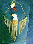 Nach Bijoux Porcelaine Eagle Necklace W Beads And A Matching Porcelain Eagle Ring