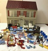 Vtg 40s Playsteel Tin Litho Miniature Dollhouse And 90+ Pc Furniture Lot Renwal 2