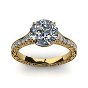 2.35 Ct Round Cut Diamond Engagement Rings Real 14k Yellow Gold Ring Size 5 8