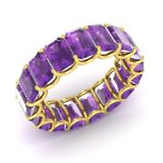 3.40 Ct Real Amethyst Gemstone Wedding Bands 14k Solid Yellow Gold Size 5 6 7 8