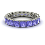 4.40 Ct Real Diamond Tanzanite Wedding Bands For Her 14k White Gold Size 5 6 7 8