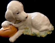 Lenox Dog With Football-green And Pale Yellow Leaves-3h X 5l-stamped