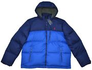 New S M Xl Polo Mens Puffer Down Jacket Hooded Winter Coat Blue
