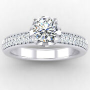 Genuine 0.76 Ct Diamond Engagement Ring Solid 14k White Gold Band Size 5 7 8 9