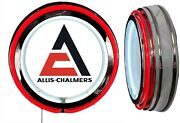 Allis Chalmers Logo Sign, Neon Sign, Red Outside Neon, Chrome Shell, No Clock