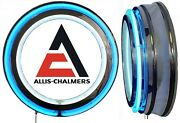 Allis Chalmers Logo Sign, Neon Sign, Blue Outside Neon, Chrome Shell, No Clock