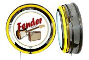 Fender Guitars Amps Since 1946 Sign Neon Sign Yellow Outside Neon No Clock Music