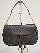 Christian Dior Vintage Brown Ostrich Leather Double Saddle Bag W/ Gold Hardware