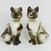Porcelain Siamese Cat Figurines Pair Of Matching With Blue Eyes