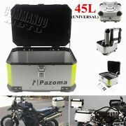 Universal Motorcycle Top Case Aluminum 45l Cargo Storage Tail Box For Harley Bmw