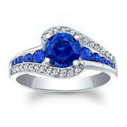 1.60 Carat Real Blue Sapphire Diamond Wedding Sterling Silver Rings Size 6 7 8 9