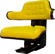 Universal Replacement Tractor Seat With Slides And Suspension Yellow