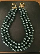 New Kenneth Jay Lane Designer 16 Created South Sea Black Pearl Necklace