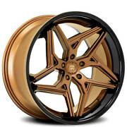 4 22 Staggered Lexani Wheels Spyder Satin Bronze W Black Lip Rims B41