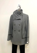 Calvin Klein Nwt Gray Wool Blend Womenand039s Double Breasted Military Style Coat M