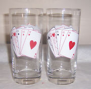Aces And Kings 2 Full House Highball Glasses Hearts Spades And Diamonds