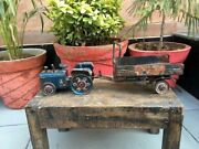 Antique Old Iron Mini Tractor With Trolley Figure Toy For Kids Decor