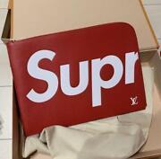 Louis Vuitton Supreme Clutch Bag Pouch Red Pre-owned W/box Slightly Used