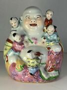 """Vintage Chinese Porcelain Laughing Buddha Figure With Children 6"""" X 5.25"""" X 4.25"""