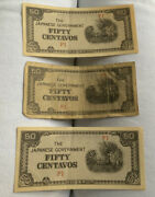 The Japanese Government - Fifty Centavos Bill 3 Bills Wwii Paper Money