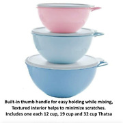 Tupperware Thatsa Bowls 3 Pc Set 32,19 And 12 Cups Pastel Pink And Blue New