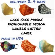 Aesthetic Lace Neon Face Mask Glamorous Re-usable Made Usa Masks Luxury Cotton