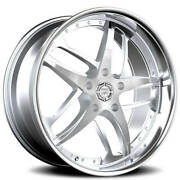4 22 Staggered Lexani Wheels Solar Silver Machined With Ss Lip Rimsb42