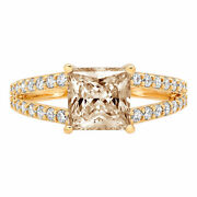 2.42 Princess Split Shank Champagne Stone Classic Statement Ring 14k Yellow Gold